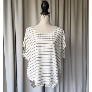 Joie Silk Striped Short Sleeve Blouse White & Blue